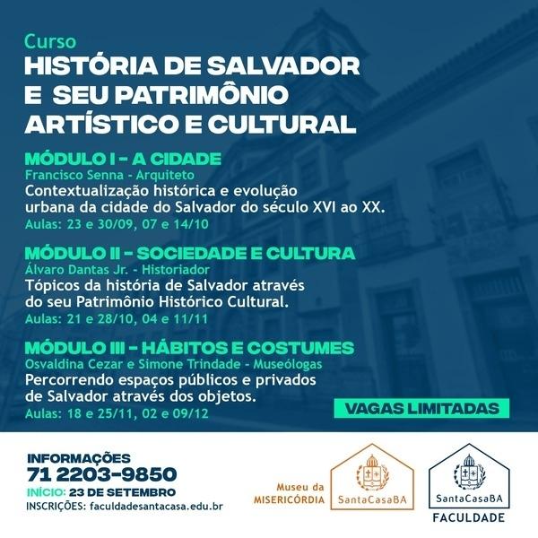 Faculdade Santa Casa e Museu da Misericórdia oferecem curso livre sobre a história de Salvador